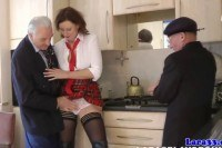 Milf in threeway facialized by old guys