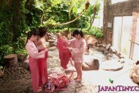 Japanese babes groupfuck dude in bathhouse