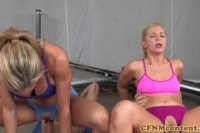 Femdoms facialized in group after riding