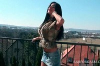 Doll brunette walking outdoor shows her