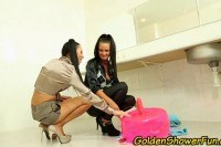 Lesbian trio piss and toy