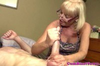 Tugging granny getting cum blasted