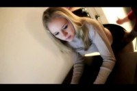 Cute blonde teen spanked