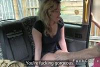 Blonde masturbates in taxi