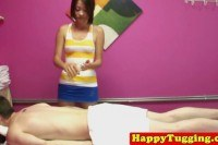 Handjob masseuse jerking client cock