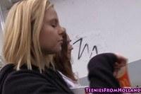 Cute teen lesbo licking