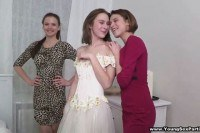 Bride and bridesmaids changed with a