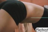 Boobies blonde yoga tutor teaches new