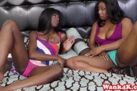 Ebony pussylicked by her petite lez pal