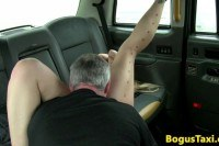 Tattooed euro slut drilled in taxi