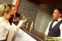 Fetish glamour pee drinking in bar