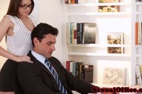 Bigtitted officebabe blows colleague